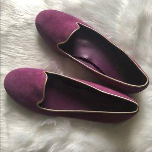 COLE HAAN Purple Suede/Gold Trim Ballet Flats